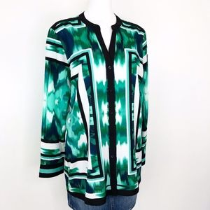 Calvin Klein | Green Black White Print Top